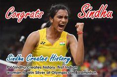 PV Sindhu creates history, first Indian woman to win silver at Olympics in Badminton Rio2016.