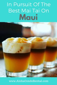 Mai Tai's conjure up thoughts of grass shack tiki bars, drinking out of tiki glasses with tropical fruit. Refreshing Drinks, Fun Drinks, Beverages, Alcoholic Drinks, Easy Mai Tai Recipe, Hawaiian Fried Rice, Maui Food, Maui Restaurants, Maui Vacation