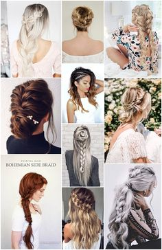 Boho Pins: Top 10 Pins of the Week – Braided Hair Styles--Wedding dress Hairdo Wedding, Boho Wedding, Wedding Blog, Dream Wedding, Wedding Dress, Boho Hairstyles, Wedding Hairstyles, Hairstyles 2018, High School Hairstyles