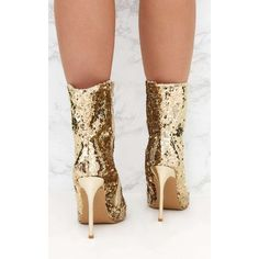 c90f34cdb10a Gold Sequin Heeled Ankle Boot ( 55) ❤ liked on Polyvore featuring shoes