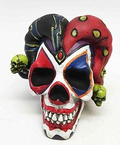 c49970568ef EXQUISITE-JESTER-JOKER-SKULL-CLOWN-TERROR-RESIN-SCULPTURE-
