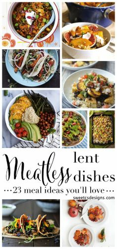meatless lent dishes you will love - this is a great list of gluten free, healthy vegan dishes! Veggie Dishes, Healthy Dishes, Veggie Recipes, Gluten Free Recipes, Dishes Recipes, Delicious Dishes, Healthy Food, Catholic, Meal Ideas