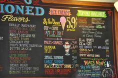 Beth Marie's Old Fashioned Ice Cream & Soda Fountain: Menu Board