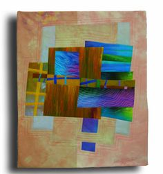 """Fenced Fields  Silk and Cotton, fused, hand and machine quilted.  20x24"""" Melody Johnson"""