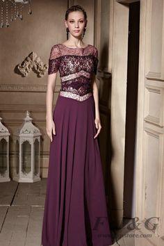 Purple Lace Short Sleeve Long Evening Dress 30635