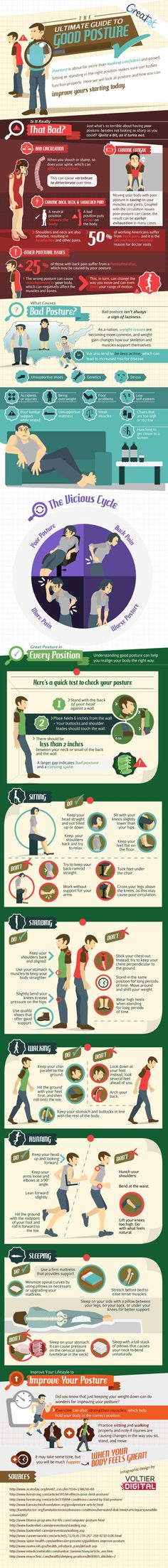 The Ultimate Guide to Good Posture -- if I don't start at least TRYING to sit up straight I'm gonna be hunch backed by the time I'm 25 :(