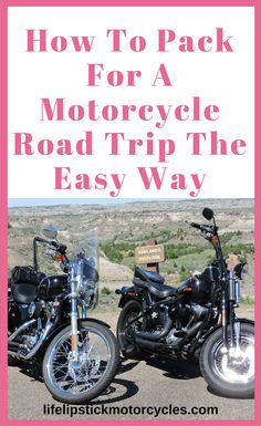 How To Pack For A Motorcycle Road Trip The Easy Way. We've been planning this trip for a year now, and the one thing I've worried over more than anything is packing our motorcycles for the trip. We will each be riding our own bikes. I have my Harley-Davidson 1200 Sportster Custom and he has his Harley-Davidson Crossbones Softtail. How do you pack for a motorcycle road trip when you want to bring everything but the kitchen sink? Well, of course, space on our bikes is limited, so we will need…