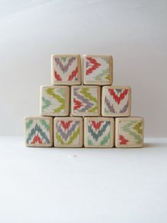 Wood Blocks. Childrens Toy. Ikat. Hipster Nursery by MiaBooo, $36.00