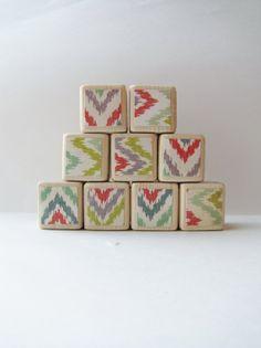 Wood Blocks. Childrens Toy. Ikat. Hipster Nursery by MiaBooo, $36.00