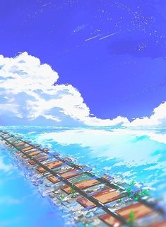 anime, sky, and scenery image Fantasy Places, Fantasy World, Fantasy Art, Fantasy Landscape, Landscape Art, Wallpaper Animes, Anime Places, Japon Illustration, Arte Obscura