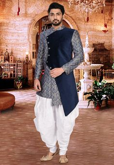 Woven Art Silk Dhoti Asymmetric Sherwani in Blue and White Mens Indian Wear, Mens Ethnic Wear, Indian Groom Wear, Indian Men Fashion, Mens Fashion Suits, Wedding Kurta For Men, Wedding Dresses Men Indian, Wedding Dress Men, Boys Kurta Design