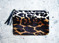 Gradient Leopard Print Calf Hair Zipper Leather Pouch , $79.00 by L I N