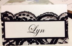 Elegant Lace Place Card by PerfectlyPersonalise on Etsy White Lace, Black And White, Wedding Place Cards, Wedding Invitations, My Etsy Shop, Stationary, Elegant, Trending Outfits, Unique Jewelry