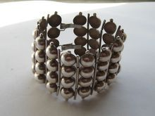 """Vintage Mexico Taxco Bracelet Early Silver Balls """"WIDE"""" 1930's"""