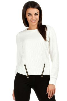 Pikowana bluza damska w odcieniach ecru z ozdobnymi suwakami i plisą Turtle Neck, Pullover, Sweatshirts, Fabric, Sweaters, Fashion, Tejido, Moda, Tela