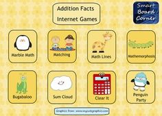 Are you using your SMART Board as a math center? This is an easy way to get started.  I have a 1 page game board with links to addition fact math games on the Internet.  Students just tap on an icon to open up the game that they want to play. No more putting favorites on your desktop or favorites bar.
