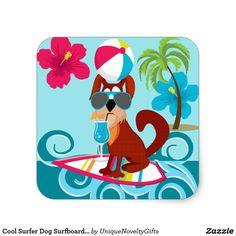 Shop Cool Surfer Dog Surfboard Summer Beach Party Fun Square Sticker created by UniqueNoveltyGifts. Summer Beach Party, Summer Fun, Beach Humor, Funny Beach, Packing List Beach, Beach Pink, Jamaica Vacation, Romantic Beach, Beach Ball