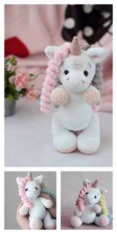 Crochet Unicorn Pattern Free, Plush Pattern, Crochet Patterns Amigurumi, Crochet Dolls, Free Pattern, Diy Accessoires, Pin On, Crochet Basics, Stuffed Animal Patterns