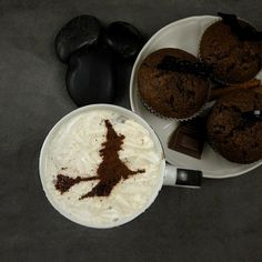 Witch  coffee stencil cake stencil cupcake by SunflowerForHome #halloween