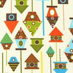 NEW Urban Zoologie and Remix Fabric by Ann Kelle for Robert Kaufman, Birdhouses in Bermuda-Fat Quarter. $2.75, via Etsy.