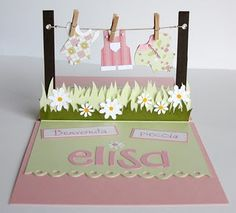 Meant to be a card pop up but I think I'll try this clothes line thing on a beach themed cake with tiny towels hanging on the clothes line...