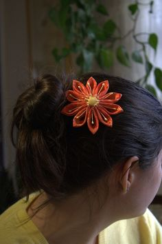 Orange and gold flower Pearl accents Comb Back by meredithdesign, $25.00