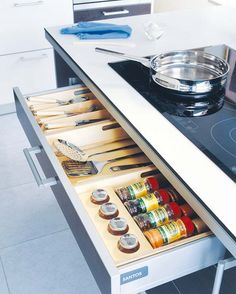 Such a good idea for drawers under a cooktop... only a gas cooktop would be better. :)