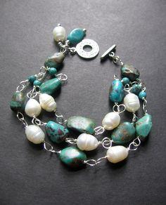 Turquoise Pearl Bracelet.