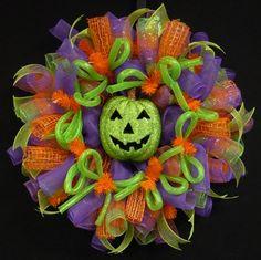 Halloween Wreath, Purple Orange Green Wreaths, Pumpkin Wreath Item 799