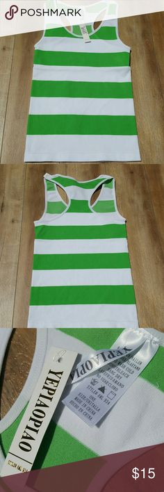 🆕NWT TANK TOP🆕 Brand new green stripe tank top comes with tags and bag yepiaopiao  Tops Tank Tops