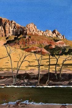 Eva Bartel, Virgin River, Zion, watercolor