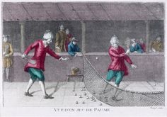 """Royal Tennis, which originated in France. Played on an indoor court and watched by spectators in specially built galleries. This game features in my novel SALT BRIDE """"Vue d'un Jeau de Paume"""" print shows gentleman playing the game in the Blind Man's Bluff, Real Tennis, Musee Carnavalet, Doll Games, Cricket Sport, American Sports, Grand Palais, Historical Clothing, Louvre"""