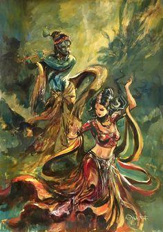 Radha Krishna the love of light by Indian artist Abhishek Singh original paintings