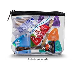 Amazon.com : Squeeze Pod Best Clear Travel Toiletry Bag. Heavy Duty Zipper & Material, Super Durable. Ideal for Travel-size Toiletries & Carry-on Bag. Quart-Size & TSA Approved (CTB-BLK) : Beauty