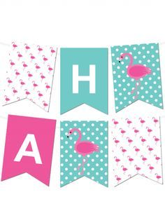 Free Flamingo Printable Pennant Banner Maker from @chicfetti
