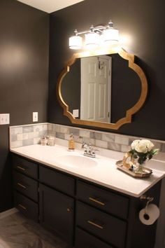 Hotel+Like+Master+Bathroom- Urban Bronze by Sherwin Williams and white