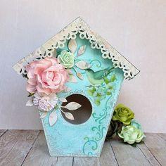 Budka dla ptaków w stylu Shabby Chic, Scrapbooking bird house