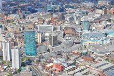 An aerial photograph of the city of Birmingham City Of Birmingham, West Midlands, Aerial Photography, New York Skyline, Times Square, Commercial, Travel, Viajes, Traveling
