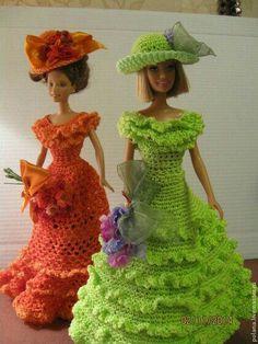 Crochet Barbie Patterns, Newborn Crochet Patterns, Crochet Doll Dress, Barbie Clothes Patterns, Crochet Barbie Clothes, Doll Dress Patterns, Knitted Dolls, Clothing Patterns, Knit Fashion