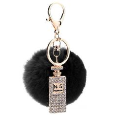 Key chain holder Puff ball with No. 5 perfume bling