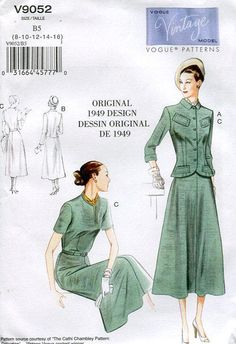 Vogue 9052 Retro 1940's 1949 Dress Jacket Reproduction Old Store Stock Uncut by LanetzLivingPatterns on Etsy