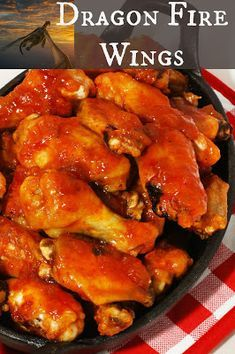 Dragon Fire Chicken Wings - restaurant style spicy wings baked in the oven. Fire Chicken, Cooking Chicken Wings, Chicken Wing Sauces, Chicken Wing Recipes, Chicken Sauce, Chicken Legs, Spicy Wings, Chicken Wings Spicy, Baked Chicken