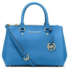 Women's MICHAEL Michael Kors 'Small Sutton' Saffiano Leather Satchel ($240) ❤ liked on Polyvore featuring bags, handbags, purses, michael kors, satchel handbags, handbags & purses, michael michael kors purse, hand-bag and blue purse