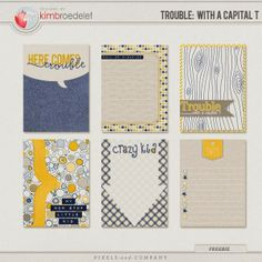 Free Trouble with a Capital T Journal Cards from Kim B Designs