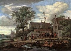 Salomon Van Ruysdael Tavern with May Tree, , Museum of Fine Arts, Budapest. Read more about the symbolism and interpretation of Tavern with May Tree by Salomon Van Ruysdael. Canvas Paintings For Sale, Oil Painting On Canvas, Painting & Drawing, Art Et Nature, Dutch Golden Age, Tree Canvas, Dutch Painters, Dutch Artists, Caravaggio