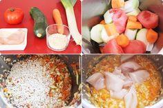 Puré de arroz, pollo y verduras