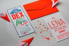 Neon letterpressed babycards https://ohsoprettyparty.files.wordpress.com/2014/09/letterpress_baby_card_neon_red_02.jpg