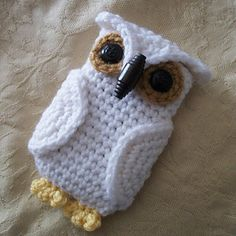 """My """"Hedwig"""" Owl Cell Phone Cozy I made. Free pattern on Ravelry. Such a cute, fun, and quick pattern! Can be easily adapted to fit any size phone."""