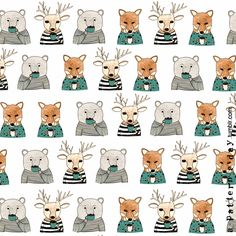 I got the suggestion to make a pattern with 'animals drinking tea' :)