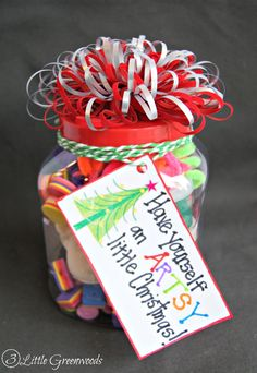 Best Diy Crafts Ideas Dollar Store Christmas Gift: Art Supplies {Gift in a Jar} by 3 Little Greenwoods -Read More – Dollar Store Gifts, Dollar Store Christmas, Dollar Stores, Christmas Shopping, Little Christmas, Christmas Holidays, Christmas Crafts, Christmas Ideas, Outdoor Christmas Wreaths